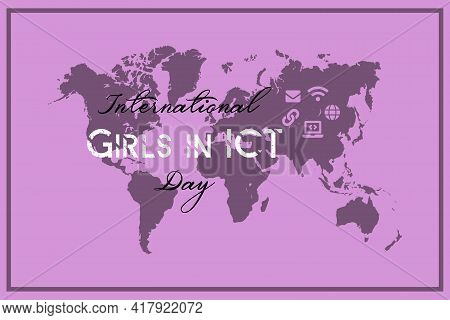 International Girls In Ict Day Vector Pink Background. Girls In Ict Day On World Map