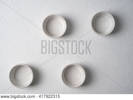 Top View Of White Empty Ceramic Deep Bowl Isolated On White, Porcelain Cake Ramekin Dish Pattern Iso