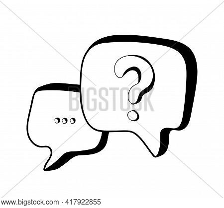 Hand Drawn Chat Icons In Doodle Style. Speech Message Bubbles With Question  Mark Isolated On White