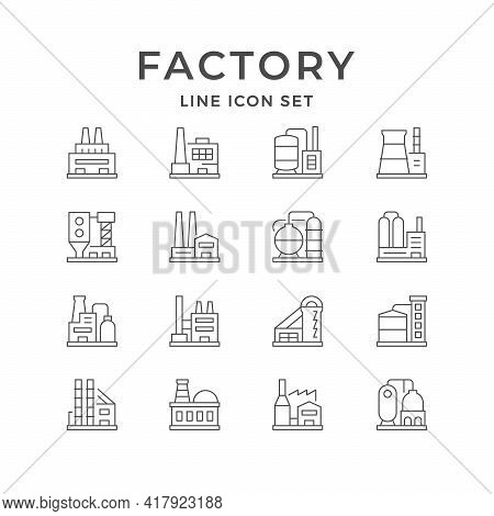Set Line Icons Of Factory Or Plant Isolated On White