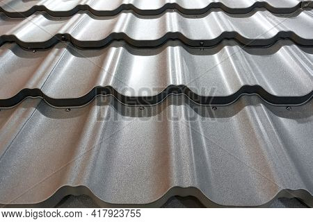 Metal Slate For Roof As A Background.