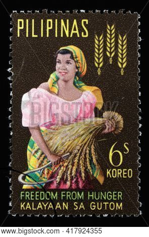 ZAGREB, CROATIA - SEPTEMBER 18, 2014: Stamp issued in the Philippines from the Freedom from Hunger series, circa 1963.