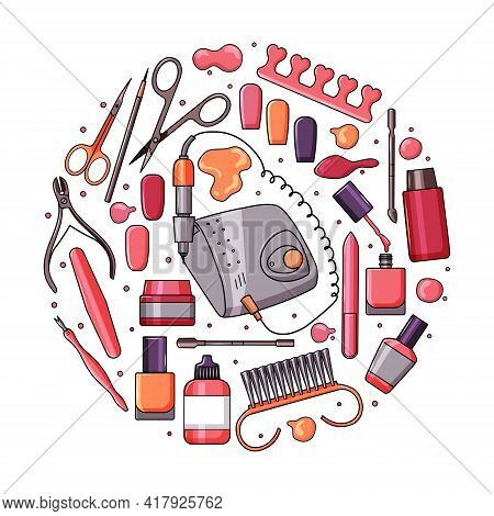 A Set Of Manicure Equipment. Collection Of Various Tools Nail File, Nail Clippers, Scissors, Nail Po