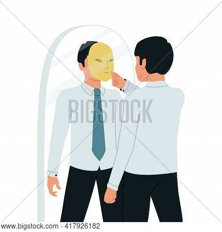 Imposter Syndrome. A Businessman Looks In The Mirror And Takes Off His Imposter Mask. Vector Illustr