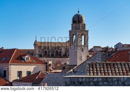 Dubrovnik, Croatia. Picturesque View On The Old Town, Medieval Ragusa, At The Dalmatian Coast Of The