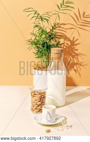 Healthy Vegan Breakfast With Fresh Coffee On A Eco Friendly Kitchen. Vertical Veggies Food Compositi