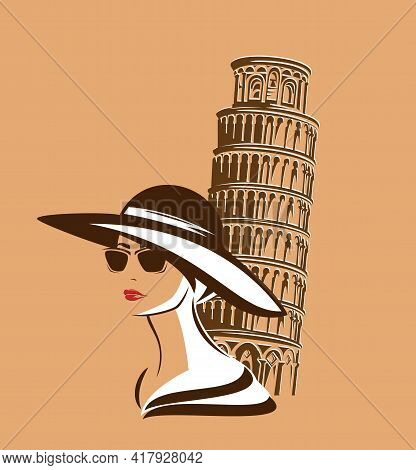 Elegant Woman With Sunglasses Wearing Wide Brimmed Hat By Leaning Tower Of Pisa - Stylish Italian To