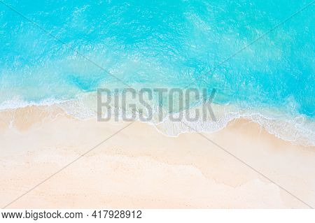 Summer Seascape Beautiful Waves, Blue Sea Water In Sunny Day. Top View From Drone. Sea Aerial View,
