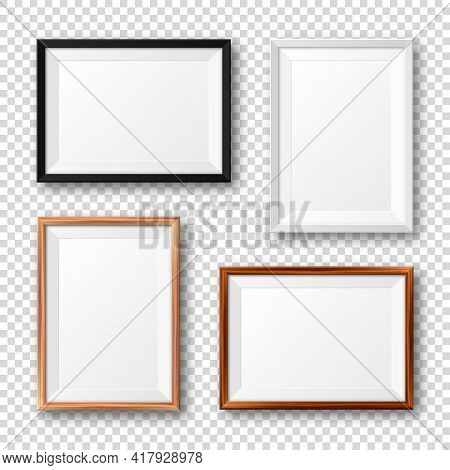 Realistic Black, White And Wooden Picture Frames With Shadow On Checkered Background. Blank Poster M