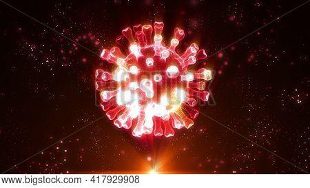 Holographic Coronavirus Rotating In Virtual Space. Virtual 3d Render Of The Covid-19 Virus Rotating