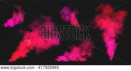 Realistic Red Colorful Smoke Clouds, Mist Effect. Colored Fog On Dark Background. Vapor In Air, Stea