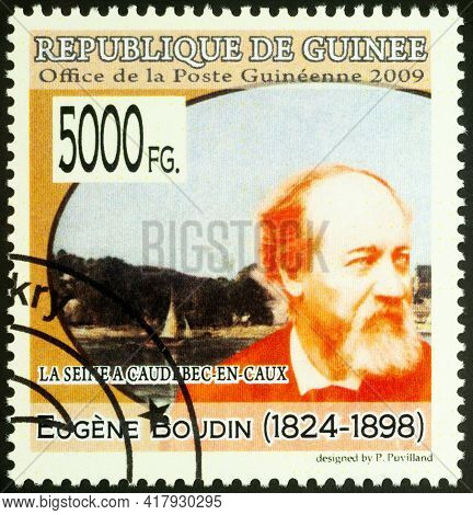 Moscow, Russia - April 20, 2021: Stamp Printed In Guinea Shows French Artist Eugene Boudin, And His