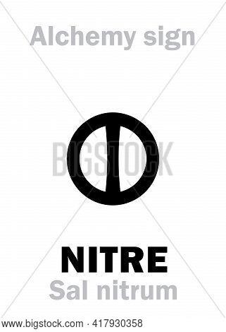Alchemy Alphabet: Nitre / Niter (nitrum, Sal Nitrum, Sal Nitri) -- Common Nitre, E.g.: Saltpeter (sa