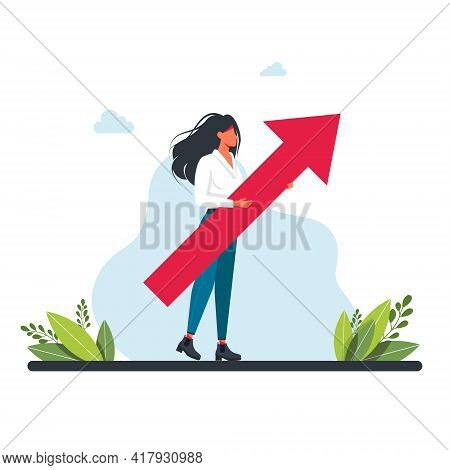 Girl Holding Big Arrow Up In Her Hands.growth Concept. Career Advancement. Office Workers, Managers,