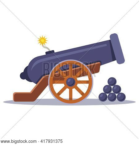 Old Military Cannon With A Lit Wick. Flat Vector Illustration.