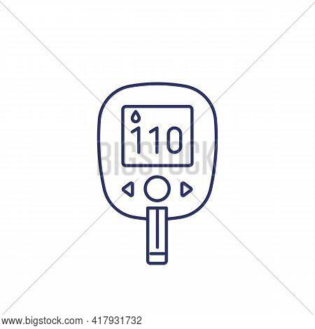 Glucose Test, Glucometer Line Icon On White