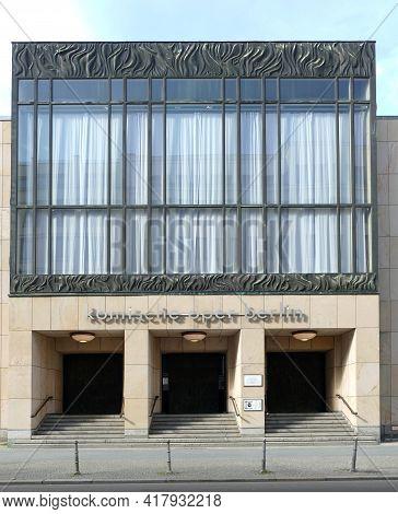 Berlin, Germany, April 16, 2021, Façade And Main Entrance Of The Komische Oper On Behrenstraße.