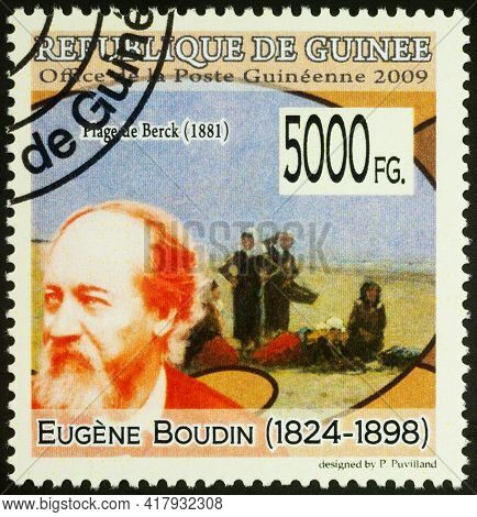 Moscow, Russia - April 19, 2021: Stamp Printed In Guinea Shows French Artist Eugene Boudin, And His