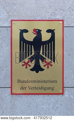 Berlin, Germany, April 30, 2021, shield with federal eagle and lettering on the German Federal Ministry of Defense.