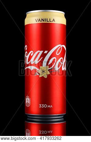Moscow, Russia - April 07, 2021: Coca-cola Vanilla In Red Aluminum Can With Beige Stripe With Reflec