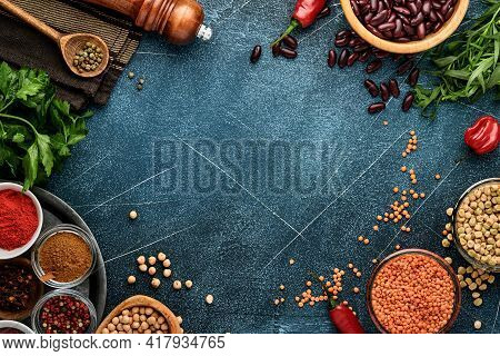 Legumes, Lentils, Chickpea, Beans Assortment, Tasty Appetizing Ingredients Spices Grocery For Cookin