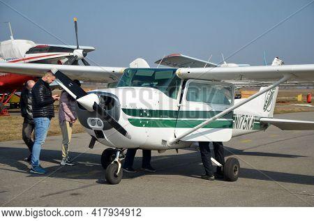 Private Cessna aircraft. Small private airclub and pilots school. 27 March 2021. Kiev Region, Ukraine