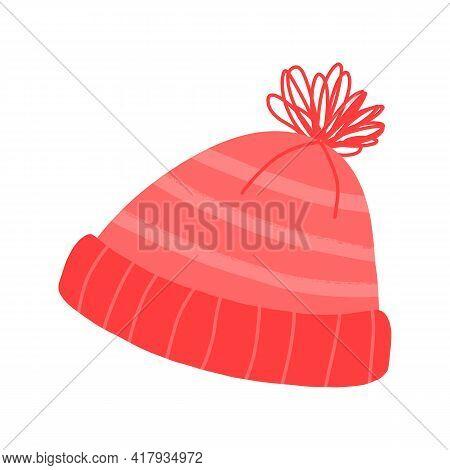 Cute Knit Striped Pom-pom Hat. Cartoon Vector Illustration.