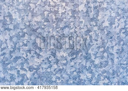 Galvanized Iron Pattern With A Blue Tint, Metal Abstract Texture Steel Surface Background.