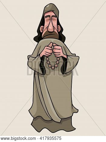 A Cartoon Man In A Monks Cassock Stands And Prays With Rosary In His Hands