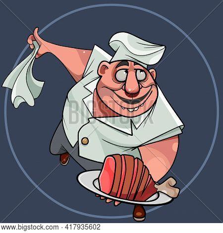 Cartoon Chef Masterly Serves Dish Of Meat