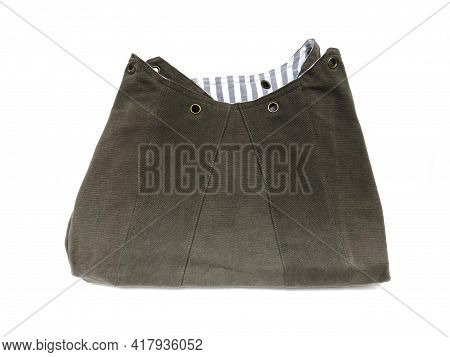Aerial View Of Biodegradable Cotton Canvas Shoulder Bag On White Background. Eco-friendly Gray Fabri