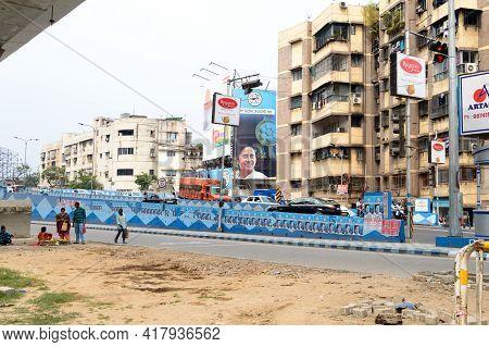 Political Hoarding Of Mamata Banerjee Trinamool Congress Supreme Showing Bangla Nijer Meye Kei Chay