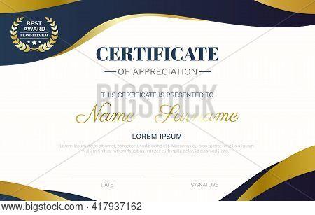 Certificate Template Modern Wave Curve Luxury Lines And Best Award Brand Premium Golden Badge Vector