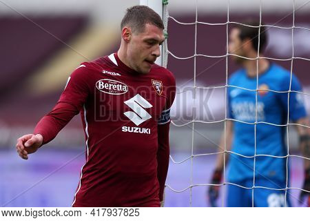 Torino, Italy. 18th April 2021. Andrea Belotti Of Torino Fc  During The Serie A Match Between Torino