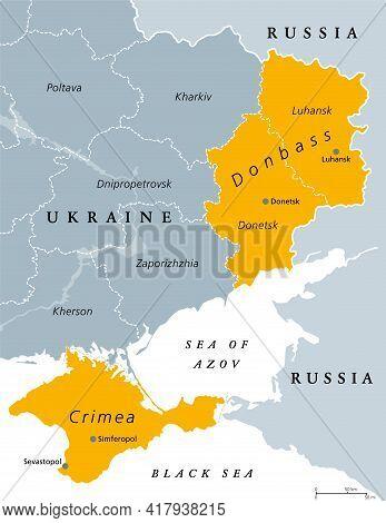 Donbass And Crimea, Political Map. Crimea Peninsula On The Coast Of Black Sea, And Donbass Region, F