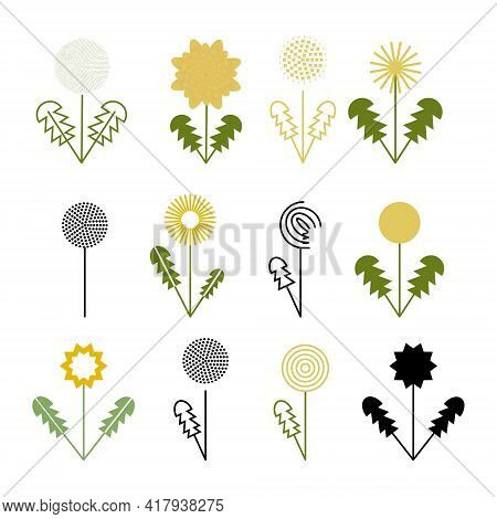 Set Of Spring Plant Chamomile And Sunflower. Vector Illustration Of A Simple Shape. Website Or Notep