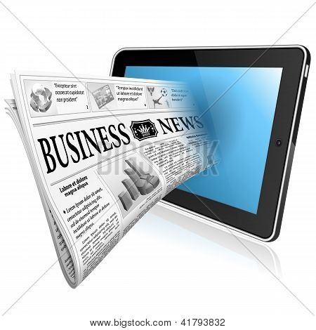 Concept - Digital News Witn Newspaper And Tablet Pc