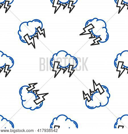 Line Storm Icon Isolated Seamless Pattern On White Background. Cloud And Lightning Sign. Weather Ico