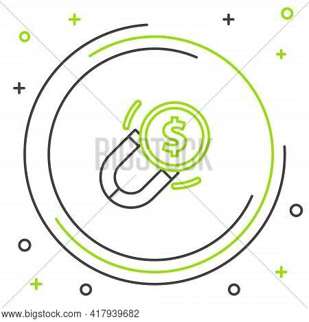 Line Magnet With Money Icon Isolated On White Background. Concept Of Attracting Investments. Big Bus