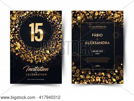 15th Years Birthday Vector Black Paper Luxury Invitation Double Card. Fifteen Years Wedding Annivers
