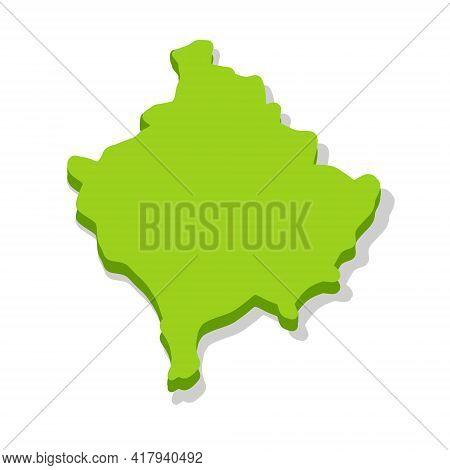 Map Of Kosovo. European State. Green Area. Region Of The Former Serbia And Yugoslavia. Flat Cartoon