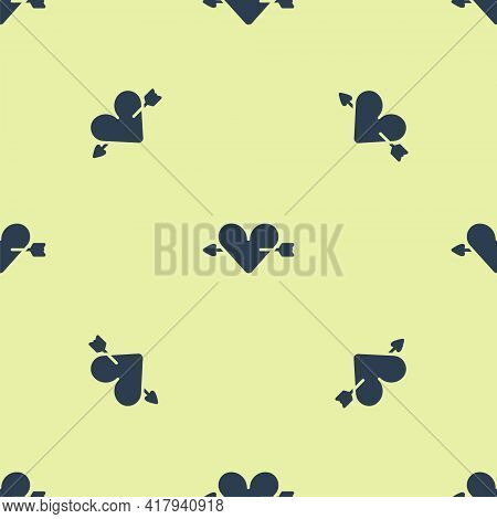 Blue Amour Symbol With Heart And Arrow Icon Isolated Seamless Pattern On Yellow Background. Love Sig