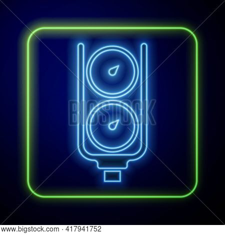 Glowing Neon Gauge Scale Icon Isolated On Blue Background. Satisfaction, Temperature, Manometer, Ris