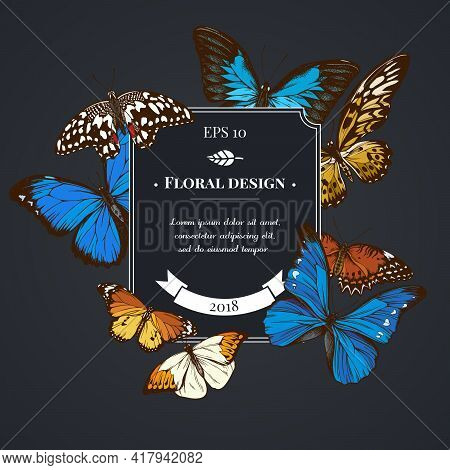 Dark Badge Design With Blue Emperor, Menelaus Blue Morpho, Blue Morpho, Red Lacewing, African Giant