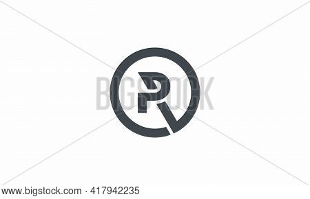 Circle Logo Letter R Or Rp Or Pr Isolated On White Background.