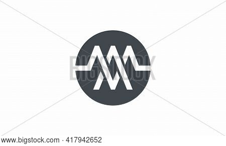 Am Or Ma Circle Logo Concept Isolated On White Background.