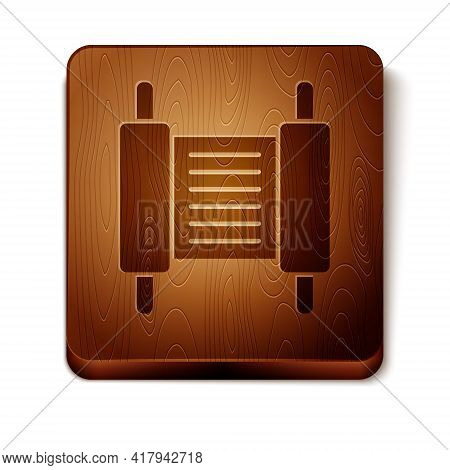 Brown Torah Scroll Icon Isolated On White Background. Jewish Torah In Expanded Form. Star Of David S