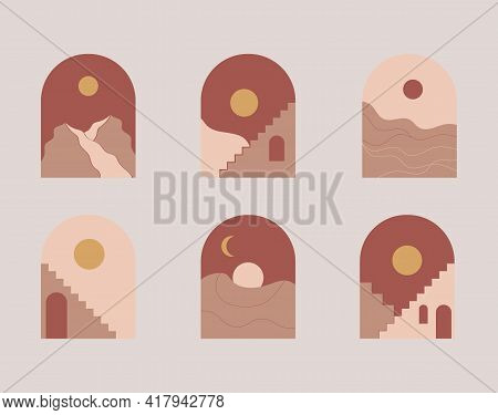 Moroccan Stairs, Arch, Walls, Arc Set Vector. Architecture Elements In Boho Style. Tunisian, Algeria