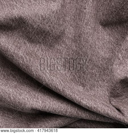 Brown High Quality Cotton Jeans Fabric Crumpled Effect Denim Texture Square Background. Jean Fold Wr