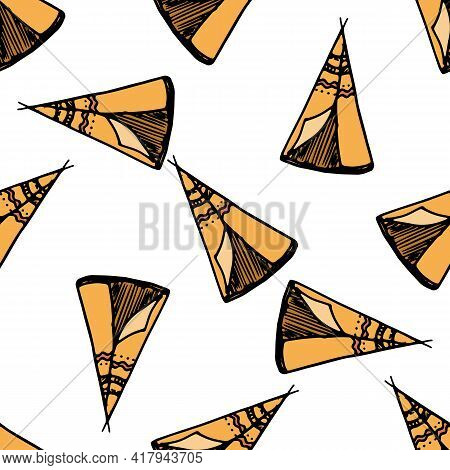 Doodle Teepee Brown In Doodle Style On White Background. Minimal Style Design. Minimal Symbol. Minim